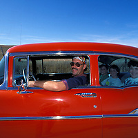 Driving on Route 66, American family, USA.