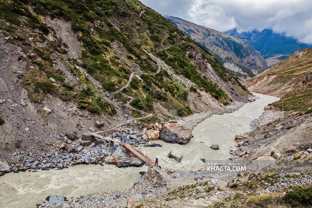 The bridge to Pato village in Johar valley of Uttarakhand