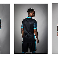 Manchester City new &pound;50 million signing Raheem Sterling poses in the new shirt by NIKE at the Manchester City Football Academy at the Etihad Complex, Manchester.<br />