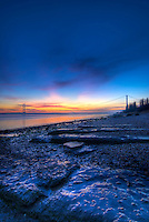 Sunset over the Humber Bridge and river Humber shot from Hessle Haven in winter