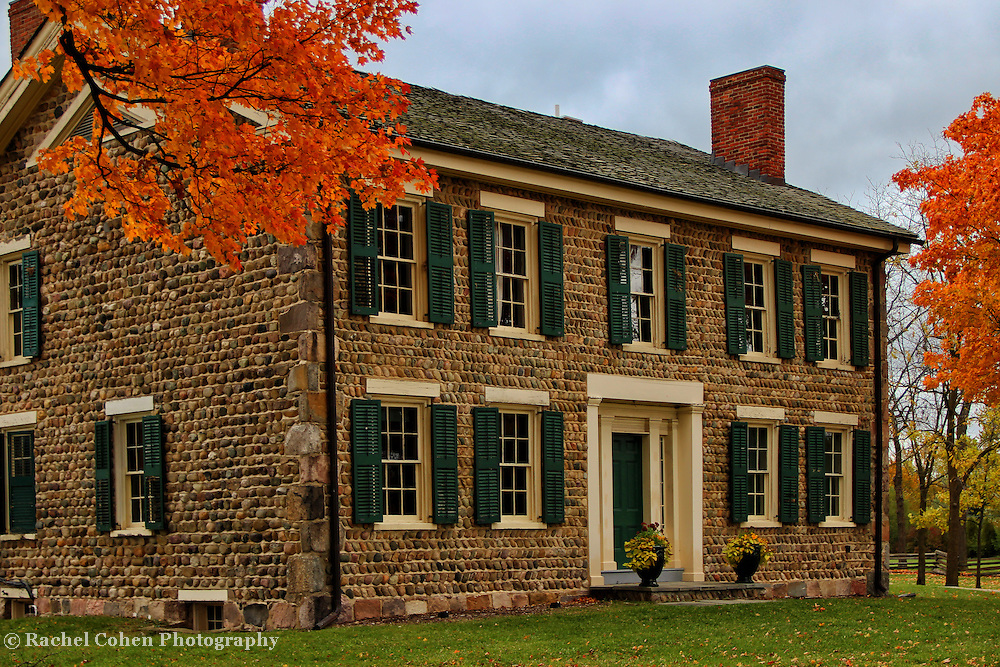 &quot;Cobblestone Farm in Beauty&quot;<br /> <br /> A wonderful image of historic Cobblestone Farm in Ann Arbor Michigan during the fall season with lovely orange Maple trees!!<br /> Beautiful architecture, texture and colors!!<br /> <br /> Architecture, structures, buildings and their details by Rachel Cohen
