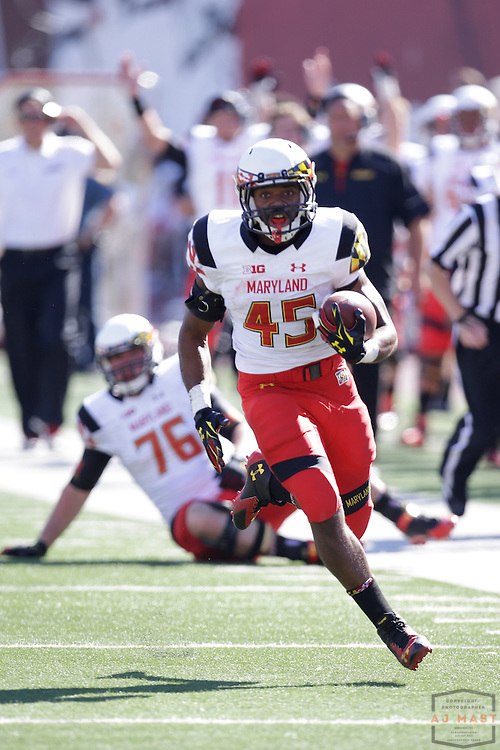 27 September 2014: Maryland Terrapins running back Brandon Ross (45) as the Indiana Hoosiers played Maryland in a college football game in Bloomington, IN.