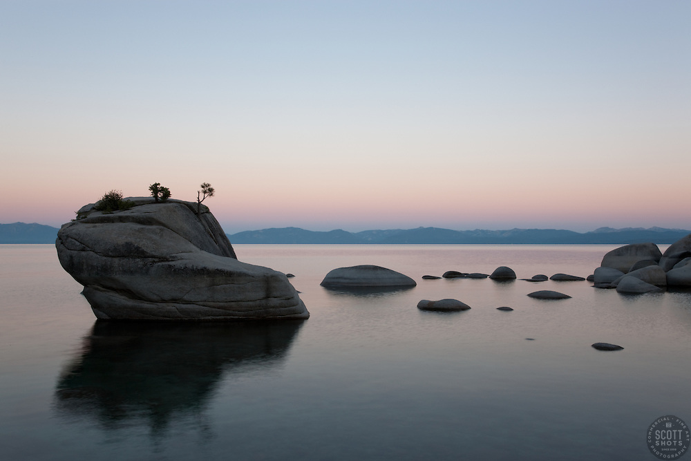 """Sunrise at Bonsai Rock 2"" - This sunrise was photographed at the beautiful Bonsai Rock, near Sand Harbor, Lake Tahoe."