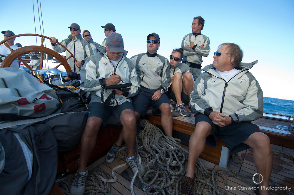 Sailing aboard The J class, Ranger (J5). Final race of the  Rolex Maxi Worlds in Porto Cervo, Sardinia. 11/9/2010