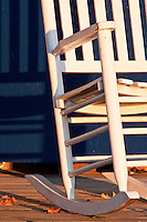 Outer Banks picture of a rocking chair in the morning sunlight.