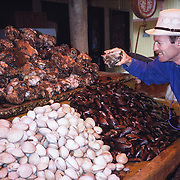 """Dave shops for clams and mussels (bivalve molluscs) at a seafood market in Puerto Montt, Los Lagos Region, Zona Austral, Chile, South America. What international tourist literature calls the """"Chilean Lake District"""" usually refers to the Andean foothills between Temuco and Puerto Montt including three Regions (XIV Los Ríos, IX La Araucanía, and X Los Lagos) in what Chile calls the Zona Sur (Southern Zone). In Chile, Patagonia includes the territory of Valdivia through Tierra del Fuego archipelago. Spanning both Argentina and Chile, the foot of South America is known as Patagonia, a name derived from coastal giants (""""Patagão"""" or """"Patagoni"""" who were actually Tehuelche native people who averaged 25 cm taller than the Spaniards) who were reported by Magellan's 1520s voyage circumnavigating the world. For licensing options, please inquire."""