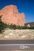 The bike lane awaits morning cyclers in Garden of the Gods, Colorado Springs, Colorad