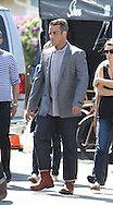 June 22nd, 2010  Los Angeles, CA. ***EXCLUSIVE*** Robbie Williams and Gary Barlow reunite for a duet as they walk to the set of their music video for &quot;Shame&quot;. It has been 15 years since the two last recorded together . Robbie and Gary were both previously part of the award winning English pop band Take That which Robbie Williams agreed to quit after a falling out with Barlow and the rest of the band. The video for Shame was filmed in a honky tonk country western bar called the Cowboy Palace Saloon. Robbie Williams appears to have gained some weight since the days of his more muscular physic.  Photo by On Location News/Daniel Mayer Photo. <br /> Telephone; 818-613-3955 or 310-600-7068 <br /> Email;info@onlocationnews.com or danny@dannymayer.com