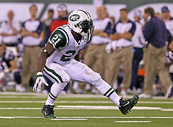Sept 19, 2011; East Rutherford, NJ, USA; New York Jets running back LaDainian Tomlinson (21) celebrate's his first down run during the 2nd half at the New Meadowlands Stadium.  The Jets defeated the Patriots 28-14.