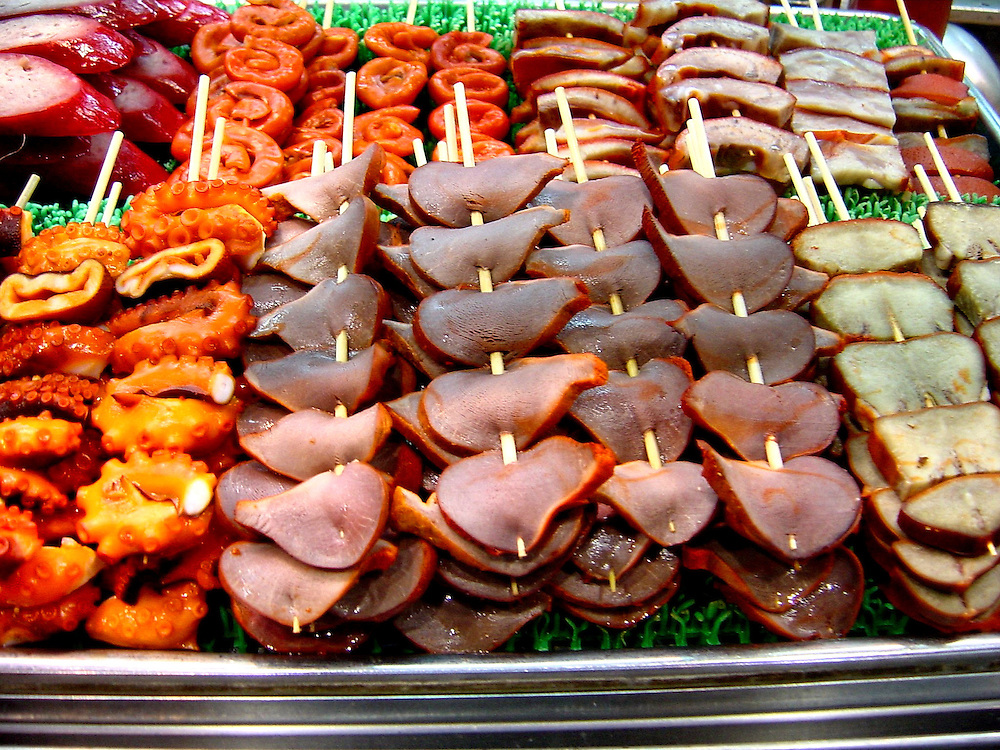 Called Chuanr at Street Market in Hong Kong, China Octopus, meat, lamb ...