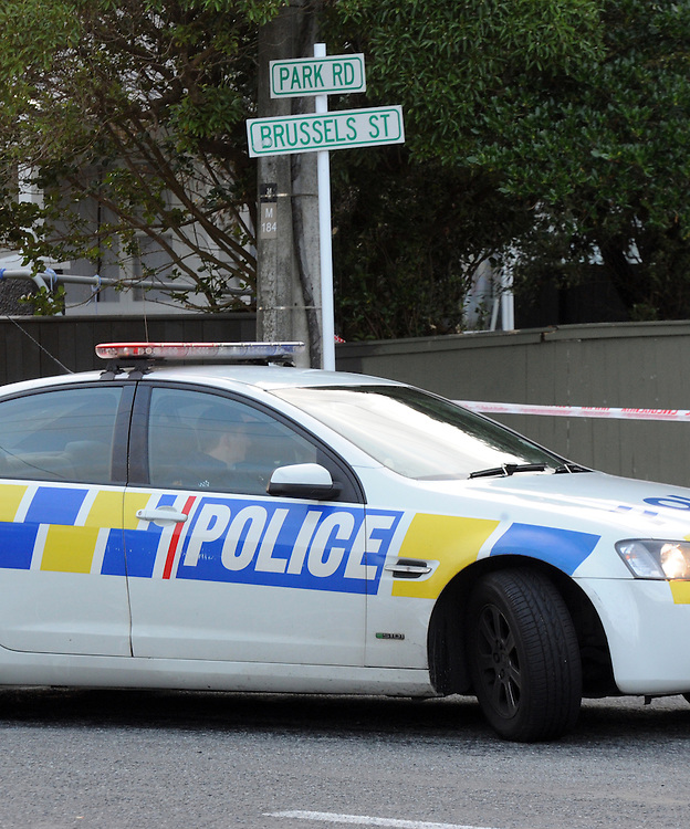 Police have cordoned off Brussels Street along with a house in the street in Miramar as they investigate a suspicious death, Wellington, New Zealand, Sunday, November 10, 2013. Credit:SNPA / Ross Setford