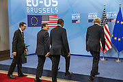 Jos&eacute; Manuel Barroso, third left, President of the European Commission, The United States President Barack Obama and Herman Van Rompuy, President of the European Council walk for a shake hands welcomed, prior a meeting of the EU-US Summit in Council of Europe, in Brussels, Wednesday 26, March 2014.<br /> This is the first visit for President Barack Obama to the European Institutions in Brussels. Photo by Delmi Alvarez