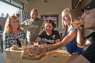 People tasting beer at Good Life Brewery in the city of Bend, Deschutes county,  Oregon, USA.Model release 0279,0280,0281, 0283, 0284