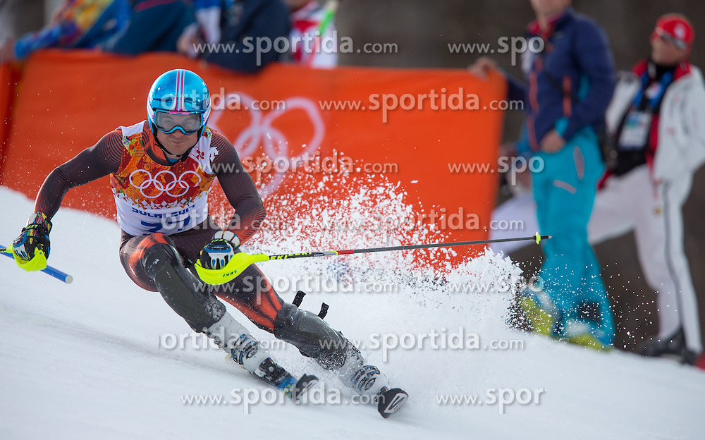 14.02.2014, Rosa Khutor Alpine Center, Krasnaya Polyana, RUS, Sochi 2014, Super- Kombination, Herren, Slalom, im Bild Paul De La Cuesta (ESP) // Paul De La Cuesta of Spain in action during the Slalom of the mens Super Combined of the Olympic Winter Games 'Sochi 2014' at the Rosa Khutor Alpine Center in Krasnaya Polyana, Russia on 2014/02/14. EXPA Pictures © 2014, PhotoCredit: EXPA/ Johann Groder