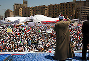 A Muslim cleric addresses tens of thousands of Egyptians taking part in a large July 8, 2011 protest in Tahrir Square in downtown Cairo, Egypt. Many of the protesters have vowed to stay in the square until the demands of the revolution are met, including an end to military trials of civilians, prosecution of police officers accused of murder or torture and open trials of former regime officials including ex-President Hosni Mubarak. (Photo by Scott Nelson/Der Spiegel)