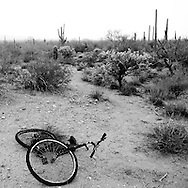 An abandoned bicycle in the desert on Sunday, July 13, 2008 in North Komelik, AZ.