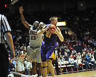 "Ole Miss' Reginald Buckner (23) and LSU's Justin Hamilton (41) go for the ball  at the C.M. ""Tad"" Smith Coliseum in Oxford, Miss. on Saturday, February 25, 2012. (AP Photo/Oxford Eagle, Bruce Newman)..."