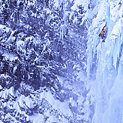 Jay Smith climbing a frozen waterfall near Merkigil, Iceland