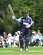 Southgate, London. 14/07/2002 - Sport - Cricket- Norwich Union League..Middlesex Crusaders vs Gloucester Gladiators. Craig Spearman, acknowledges the crowd on scoring his 50