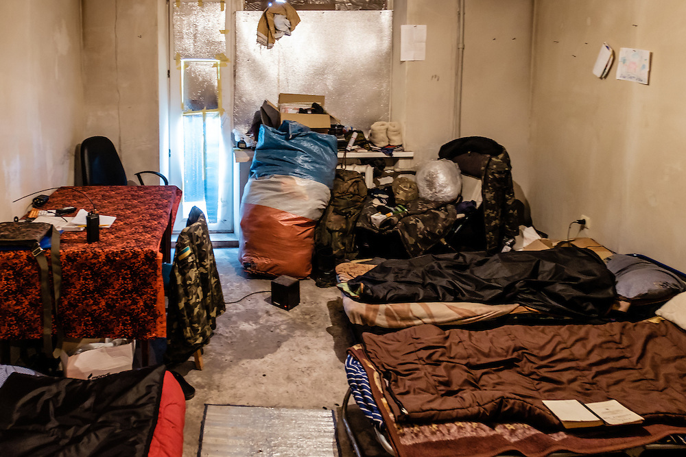Inside a back position of the Ukrainian army where they control the different troops mobility.