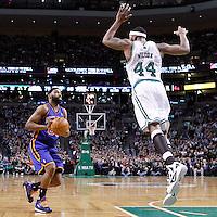 04 March 2012: New York Knicks point guard Baron Davis (85) faces Boston Celtics power forward Chris Wilcox (44) during the Boston Celtics 115-111 (OT) victory over the New York Knicks at the TD Garden, Boston, Massachusetts, USA.