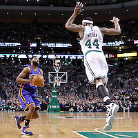 04 March 2012: New York Knicks point guard Baron Davis (85) faces Boston Celtics power forward Chris Wilcox (44) during the Boston Celtics 115-111 (OT) victory over the New York Knicks at the TD Garden, Boston, Massachusetts, USA.