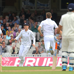 England's Joe Root celebrates England's Chris Woakes wicket as India's Ravichandran Ashwin is out during the first day of the Investec 5th Test match between England and India at the Kia Oval, London, 15th August 2014 © Phil Duncan | SportPix.org.uk