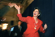 Senator Barbara Boxer gets a high-five from one of her supporters while running up to the podium to make her victory speech Tuesday election night at the Fairmont Hotel in San Francisco. .Examiner/Jakub Mosur...November 4, 1998