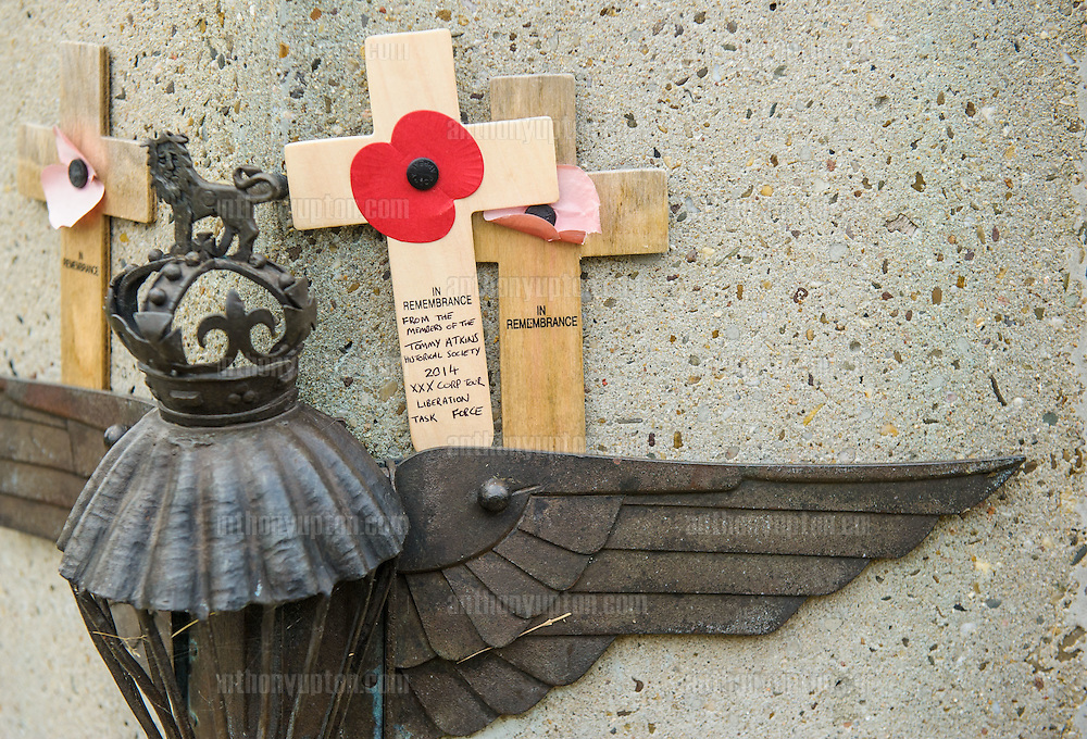 20140920       Copyright image 2014&copy;<br />  ,Daily Telegraph,  Daily Telegraph,<br /> Parachute Regiment badge on the Airborne Memorial<br /> <br /> Airborne Commemoration at Ginkle Heide, Ede, as part of the 70th Anniversary celebrations of the Battle of Arnhem, Operation Market Garden d 69yy0-  with 500 Paratroopers, with 60,000 visitors at <br /> For photographic enquiries please call Anthony Upton 07973 830 517 or email info@anthonyupton.com <br /> This image is copyright Anthony Upton 2014&copy;.<br /> This image has been supplied by Anthony Upton and must be credited Anthony Upton. The author is asserting his full Moral rights in relation to the publication of this image. All rights reserved. Rights for onward transmission of any image or file is not granted or implied. Changing or deleting Copyright information is illegal as specified in the Copyright, Design and Patents Act 1988. If you are in any way unsure of your right to publish this image please contact Anthony Upton on +44(0)7973 830 517 or email: