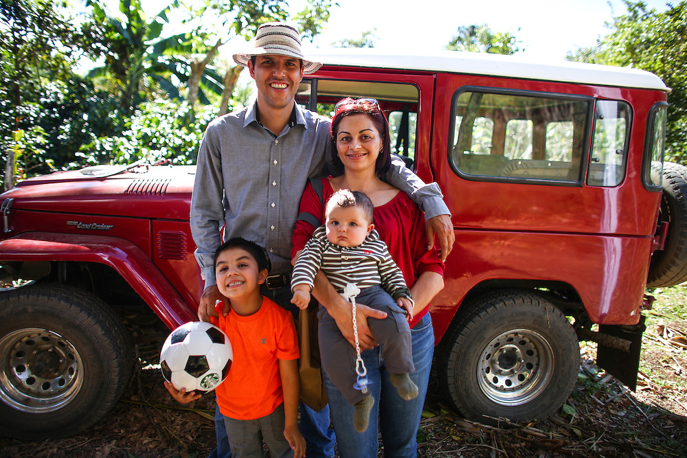 Coffee farmer Felix with his family at his Terrazzo area farm during the 2016 Starbucks Origin Experience for Partners. Photographed in January 2016. (Joshua Trujillo, Starbucks)