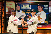 SECAUCUS, NEW JERSEY - JANUARY 7, 2016: Newly elected Hall of Famers Ken Griffey Jr. and Mike Piazza mimic an old Sports Illustrated layout while on the set of MLB Tonight talking about their election to the National Baseball Hall of Fame in Studio 21at the MLB Network Studios on January 7, 2016 in Secaucus, New Jersey. (Photo by Jean Fruth)