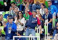 RIO DE JANEIRO - Matthew McConaughey with his wife Camila Alves  during the swim finales in Rio de janeiro . copyright robin utrecht