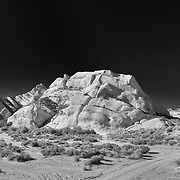 Mormon Rocks And Dirt Road - North View - Infrared Black & White