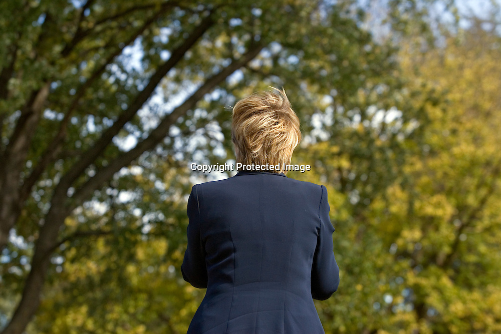 U.S. Democratic Presidential candidate Senator Hillary Clinton (D-NY) delivers speech during a campaign stop in Carroll, Iowa October 20 2007.