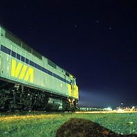 Canada, Ontario, VIA Rail train locomotive during stop at station in western Ontario