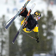 12/19/08 12:46:00 PM -- Breckenridge, CO, U.S.A. -- Skiier Justin Dorey of Vernon, Canada blasts out of the superpipe at the inaugural Winter Dew Tour in Breckenridge, Co. on December 19, 2008. The four-day competition is the first of three stops on the tour that features freeskiing and snowboarding..(Photo by Marc Piscotty / © 2008)