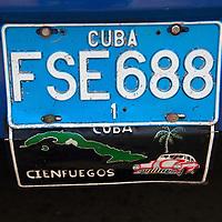 Central America, Cuba, Cienfuegos. License plate of Cienfuegos, Cuba.