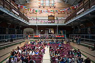 Victoria Baths in Manchester hosting an Olympic swimming screening on the first day of Britain's Olympic Games.