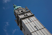 Detail of top of Queen's Tower, Imperial College against a blue sky
