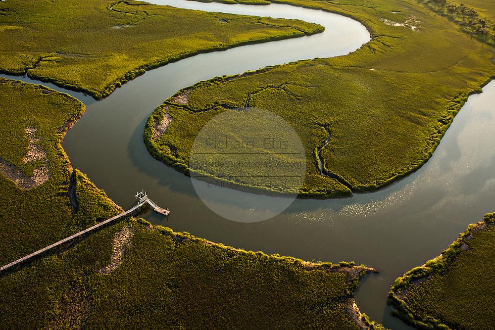 Aerial view of Morgan Creek in the marsh in Charleston, SC