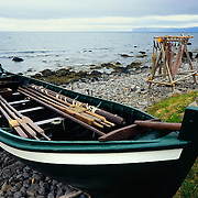 Fishing boat at Osvor Maritime Museum along the shores of Isafjordjup, Westfjords Iceland