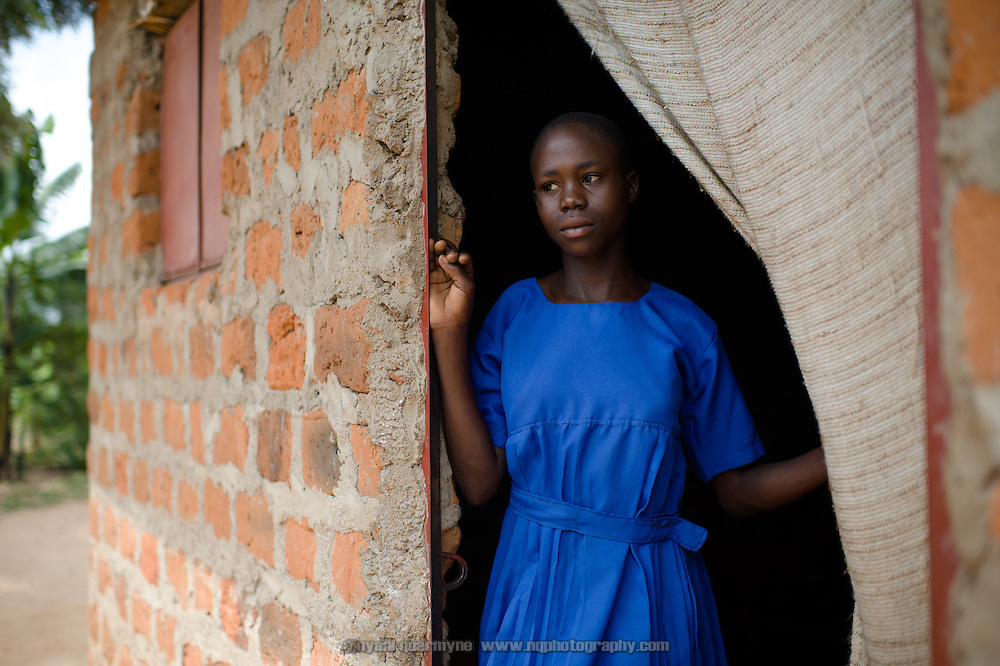 Viola Abachi (15) at her home near Tororo in Eastern Uganda. In grade six at at Aputiri Primary School, which participates in a Menstrual Hygiene Management program supported by Plan International, Viola says she has been using Afripads for seven months. She used to use disposable pads before, which was expensive—when there was no money for pads she would have to use rags. But she would still go to school. She says Afripads are good because they have kept her clean.