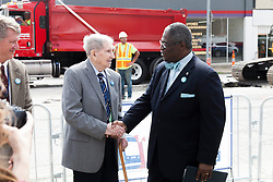 KC Mayor Sly James with John Donnell, former Kansas City streetcar driver prior to their removal - at groundbreaking ceremony for new KC streetcar line, May 22, 2014.