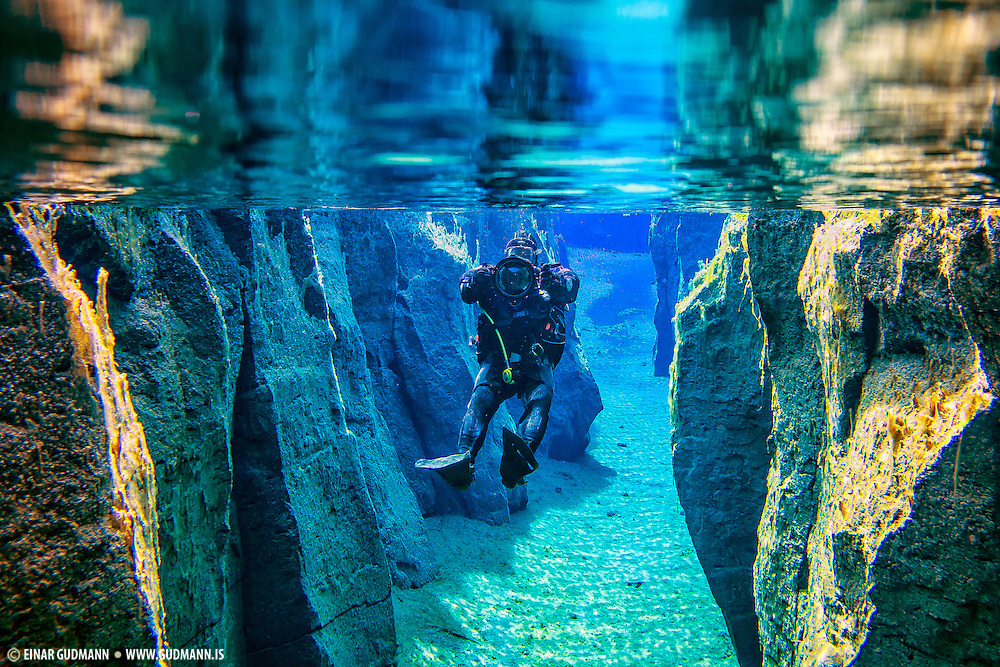 Diving in Kelduhverfi, Iceland