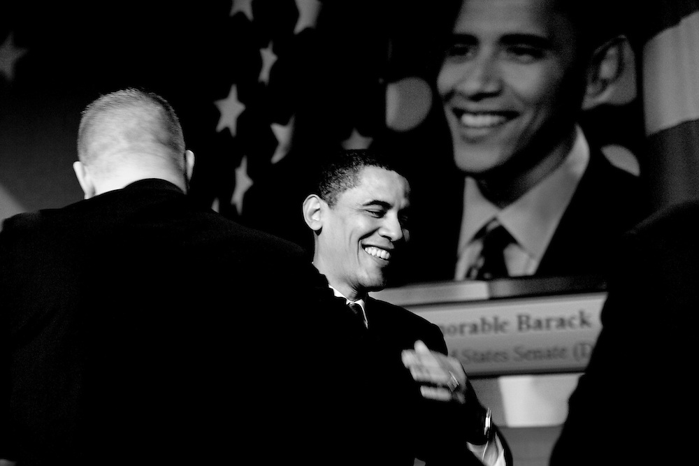 Barack Obama attends a forum for Democratic presidential candidates on March 28, 2007 in Washington, DC.