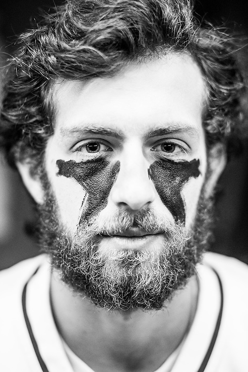 05/24/2015- Philadelphia, Penn. - Tufts midfielder Charlie Rubin, A15, shows off his eye black in the locker room at Lincoln Financial Field before the NCAA Division III Men's Lacrosse National Championship Game on May 24, 2015. (Kelvin Ma/Tufts University)