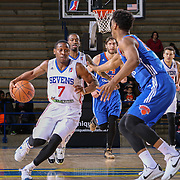 Delaware 87ers Guard JUWAN STATEN (7) dribble down the floor as Westchester Knicks Forward DAMIEN INGLIS (25) defends in the second half of a NBA D-league regular season basketball game between the Delaware 87ers and the Westchester Knicks Tuesday, JAN, 19, 2016 at The Bob Carpenter Sports Convocation Center in Newark, DEL