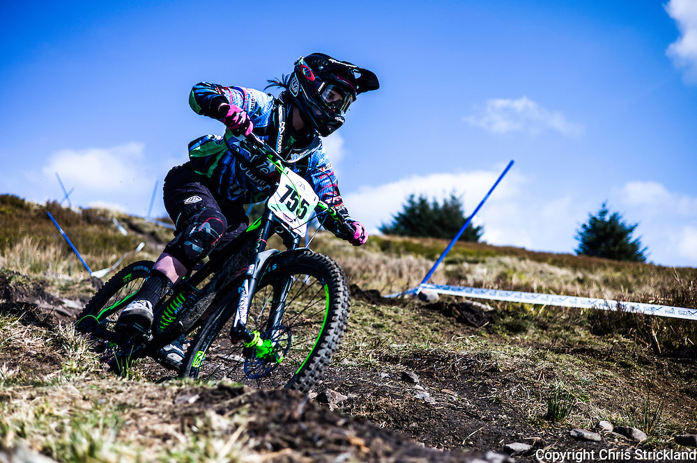 Ae Forest, Dumfries, Scotland, UK. 19th & 20th March 2016. Downhill mountain bikers compete in the Scottish Downhill Association competiton in Ae Forest near Dumfries.