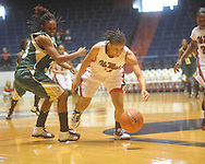 "Ole Miss Kenyotta Jenkins (11) and Southeastern Louisiana's Mary Fountain (33) go for the ball at the C.M. ""Tad"" Smith Coliseum in Oxford, Miss. on Saturday, December 11, 2010."