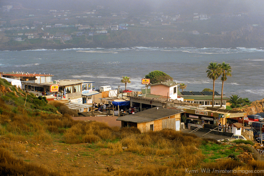 North America, Mexico, Baja California, Ensenada. A small town awaits tourists travelling along MX-1.